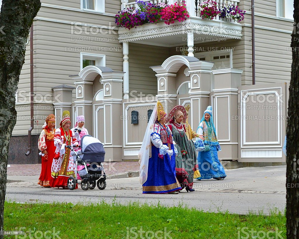 Celebration, festival, people, well-dressed women, national costumes, Russia. stock photo