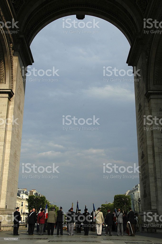 """Celebration in front of the """"soldat inconnu"""" royalty-free stock photo"""