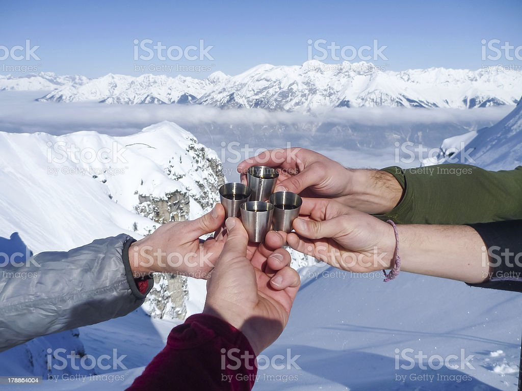 Celebration in mountains stock photo