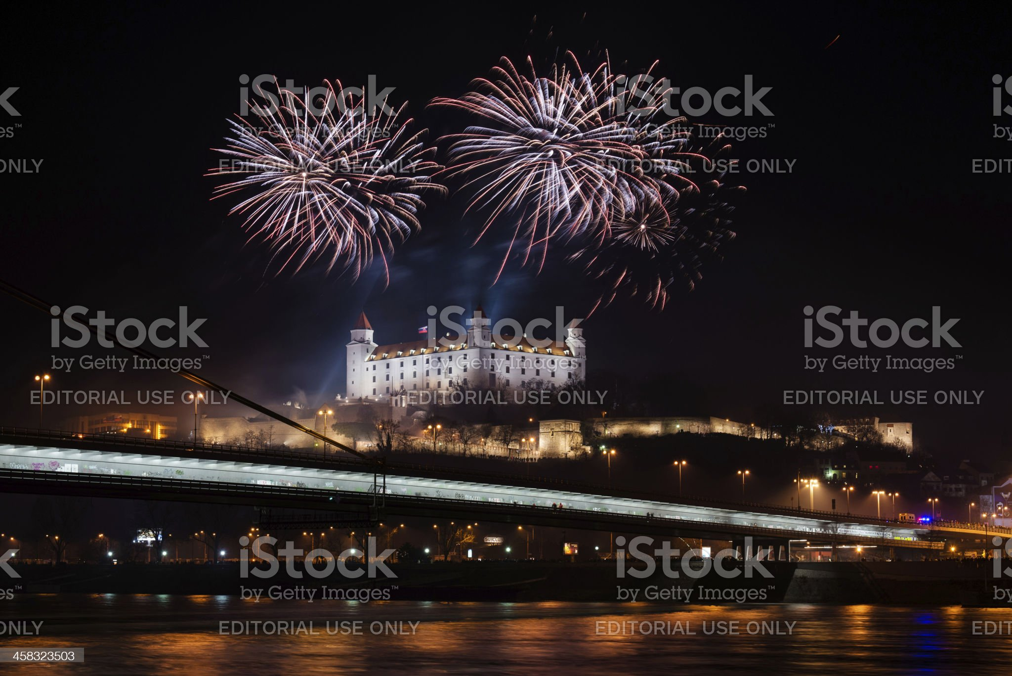 Celebration of New Year in Bratislava, Slovakia royalty-free stock photo