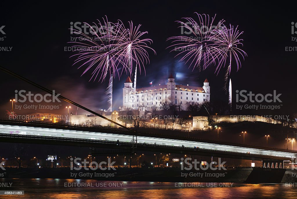 Celebration of New Year in Bratislava, Slovakia royalty-free stock photo