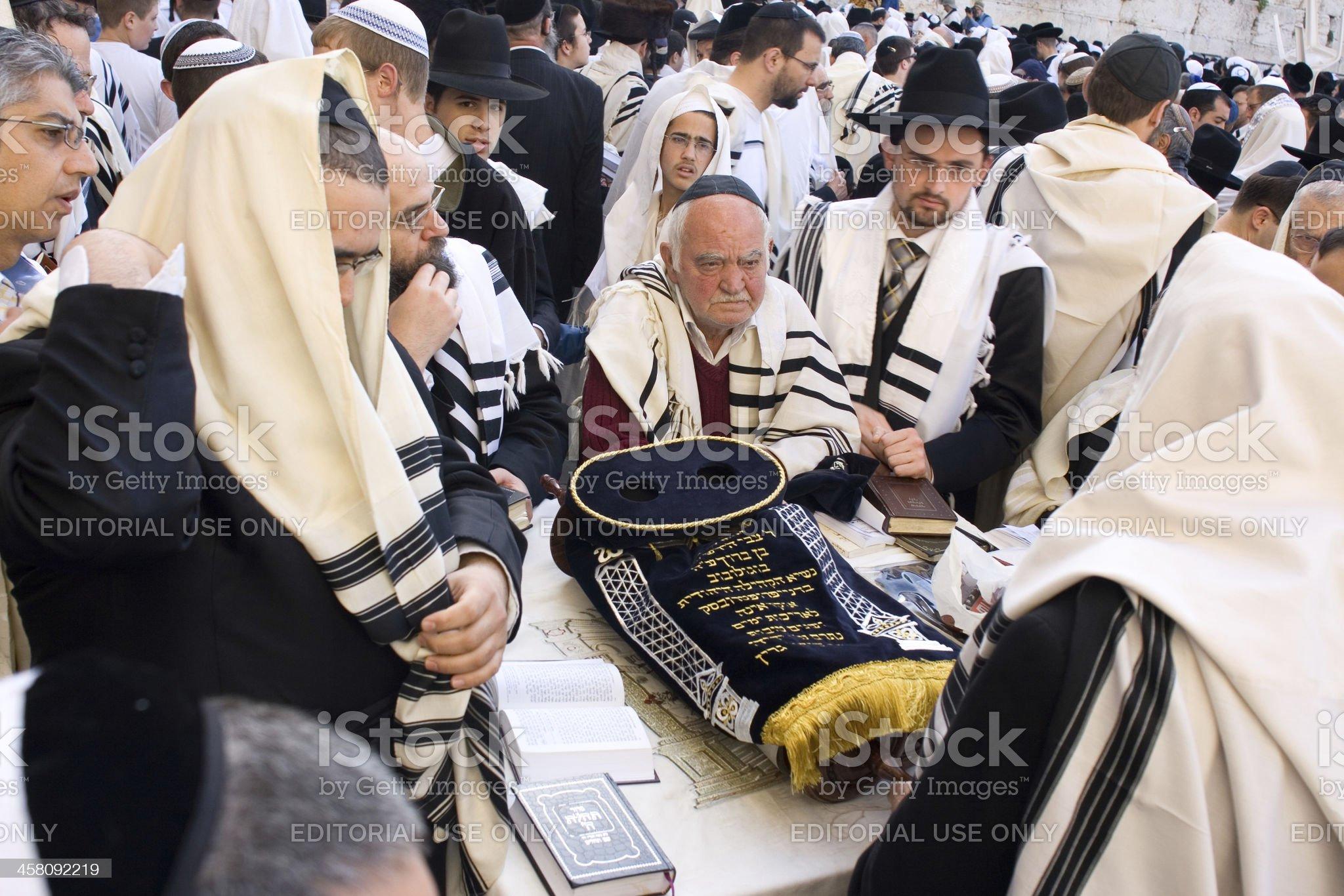 Celebration of Passover near the Wailing Wall royalty-free stock photo