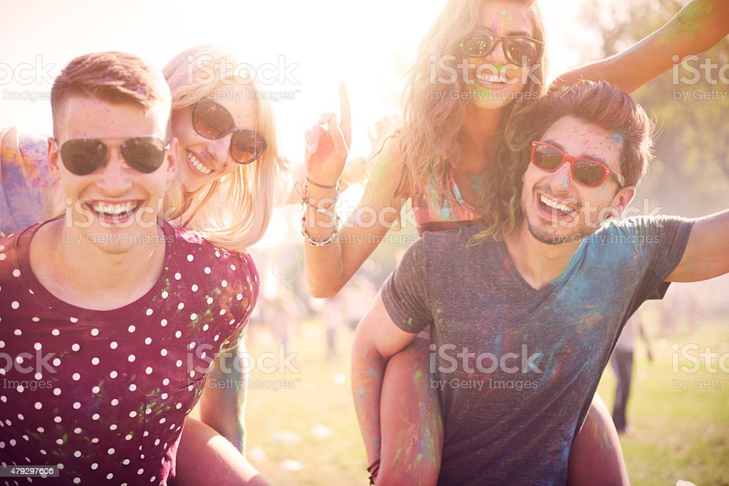 Celebration of summer with friends stock photo