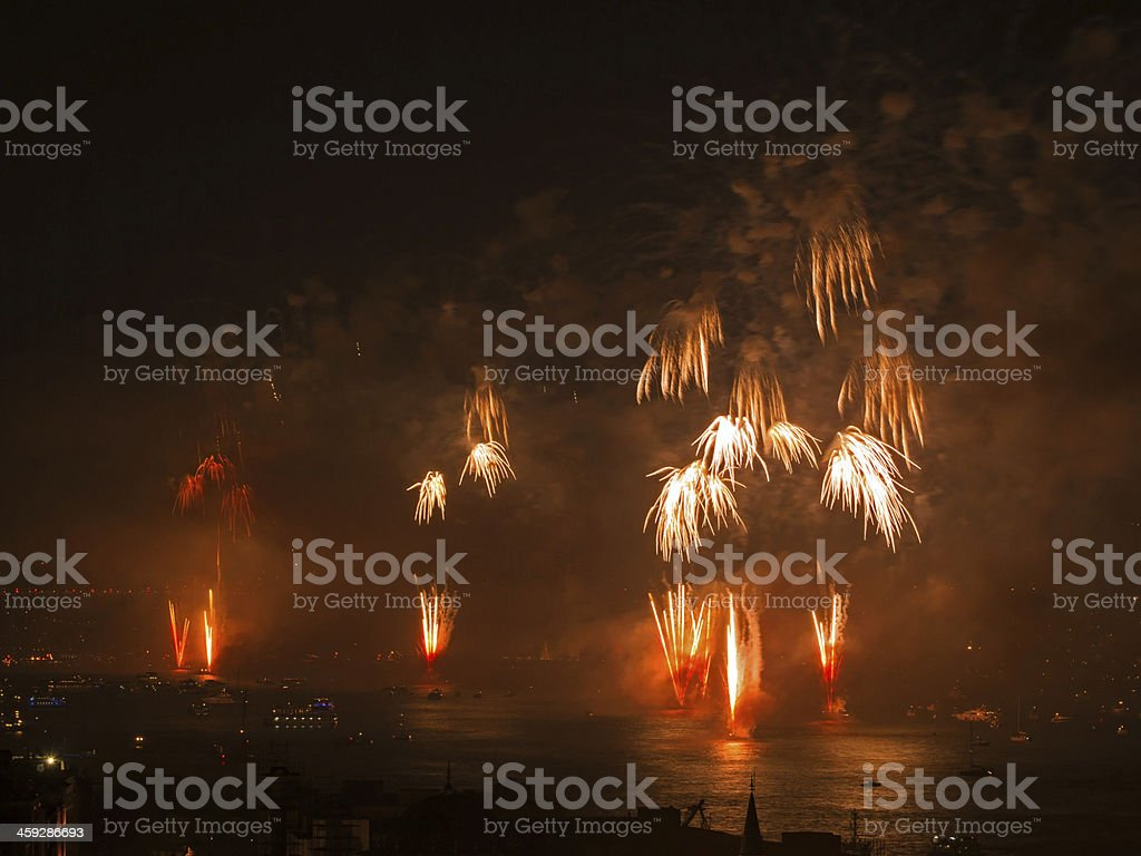Celebration of the Turkish Republic Day at Istanbul Bosphorus royalty-free stock photo