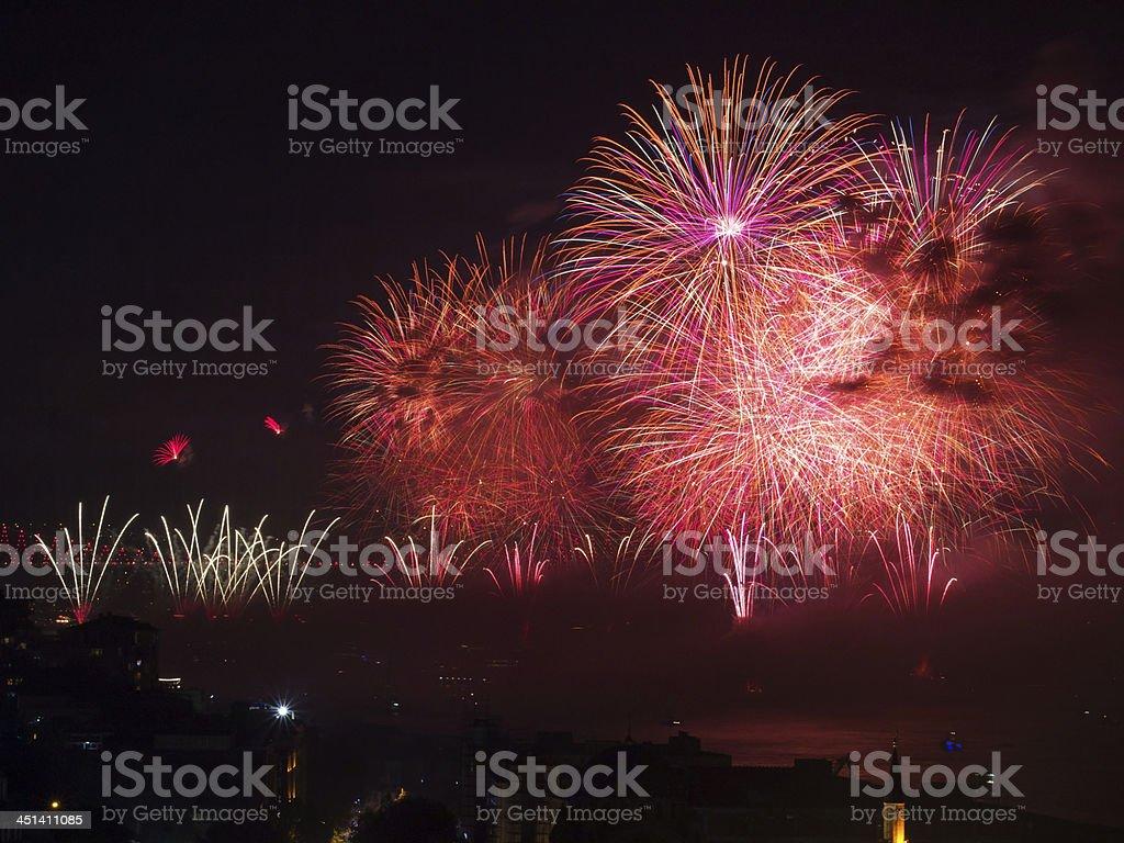 Celebration of the Turkish Republic Day- Fireworks royalty-free stock photo
