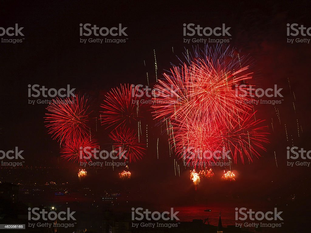 Celebration of the Turkish Republic Day- Red Fireworks royalty-free stock photo