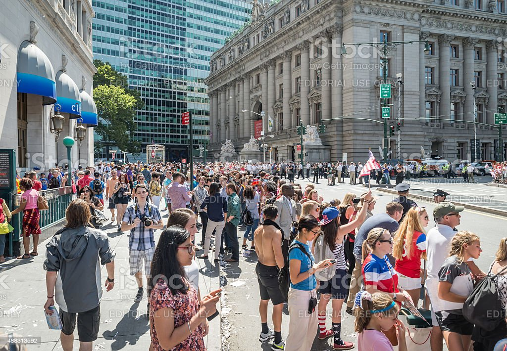 Celebration of US Women's World Cup win in New York stock photo