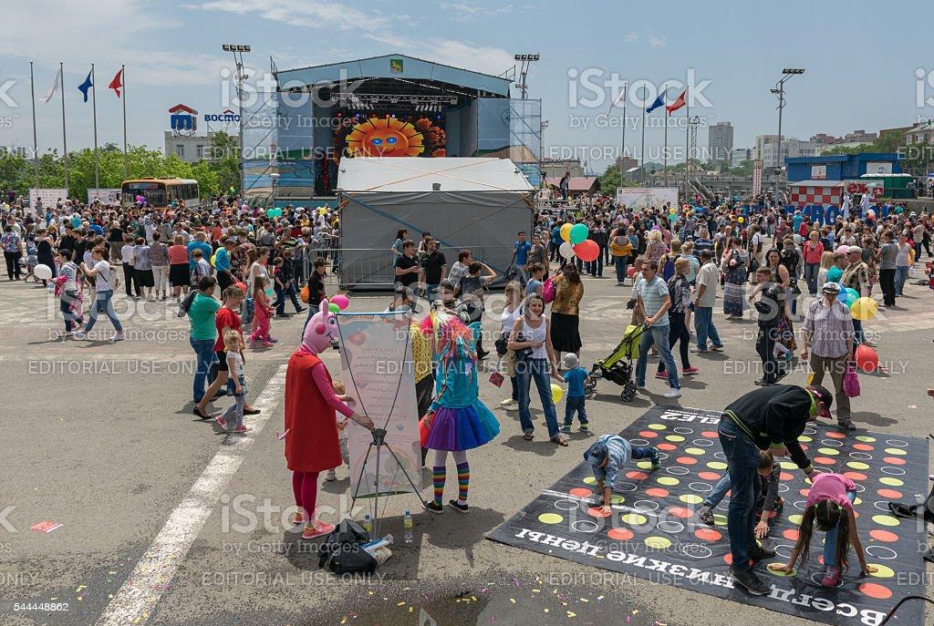 Celebration on the central square of Vladivostok. stock photo
