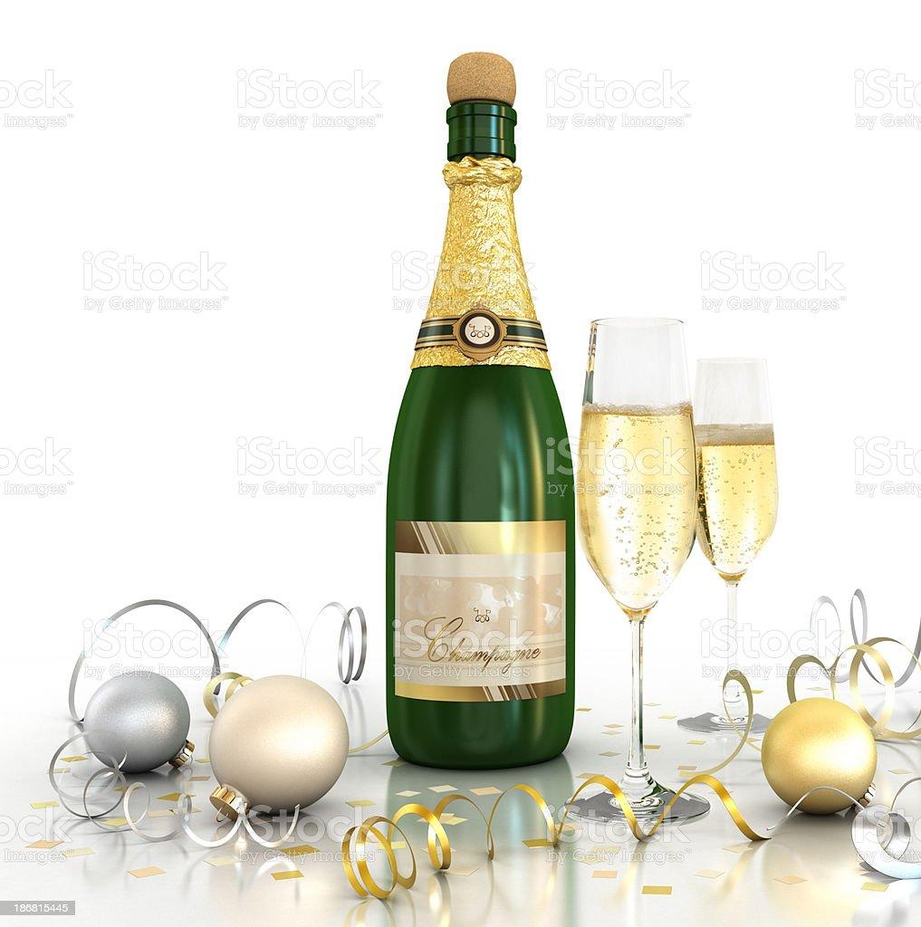 Celebration (Champagne - White background) stock photo