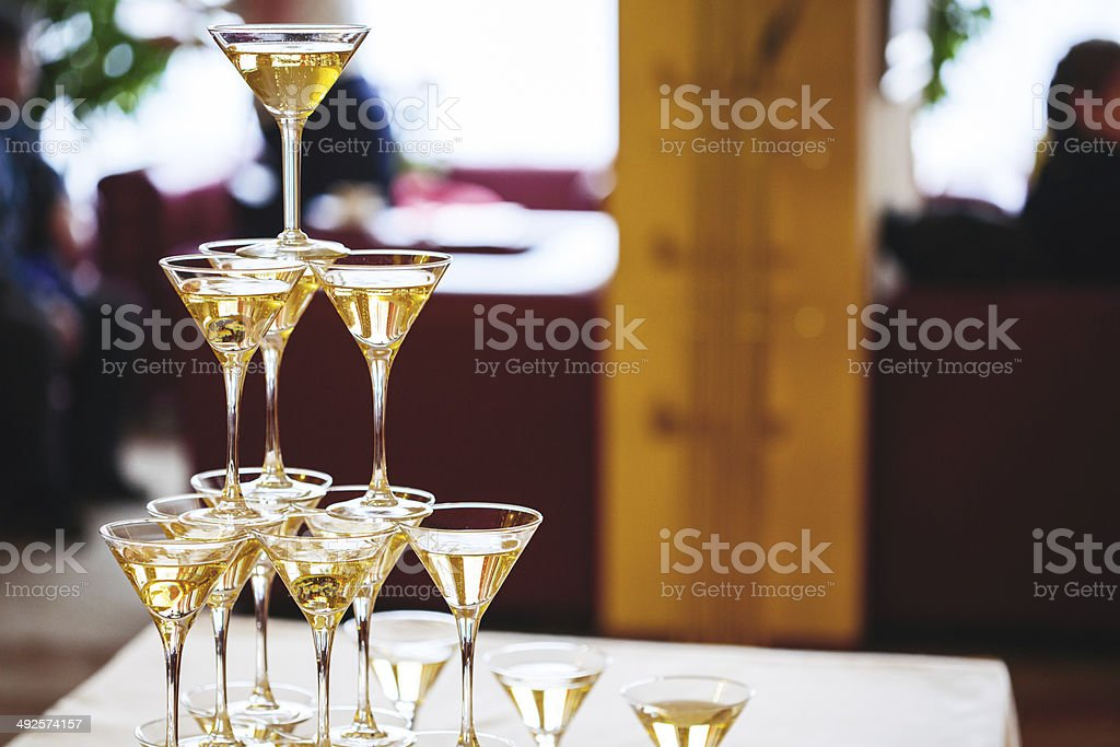 Celebration. Pyramid of champagne glasses. stock photo