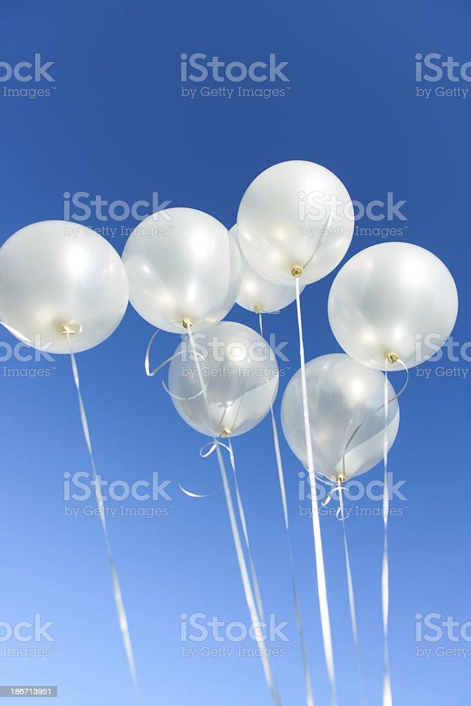 Celebration - Seven White Balloons royalty-free stock photo