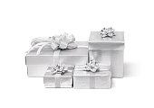Celebration silver gift box isolated on white background