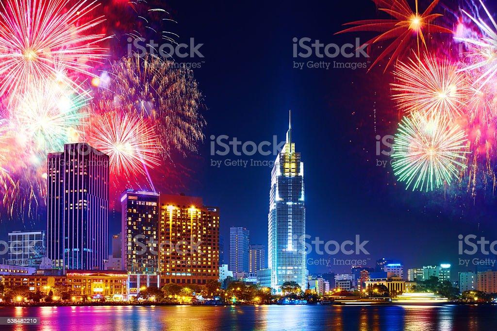 Celebration. Skyline fireworks in city. Cityscape, urban landscape stock photo