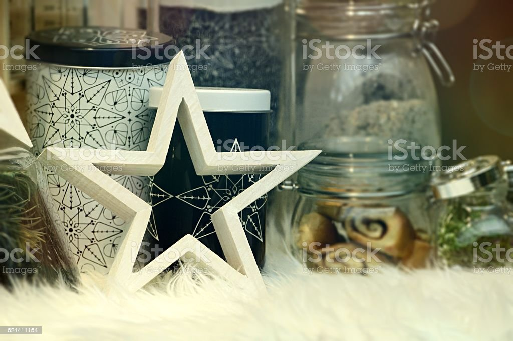 Celebration theme - Wooden star and eatables stock photo