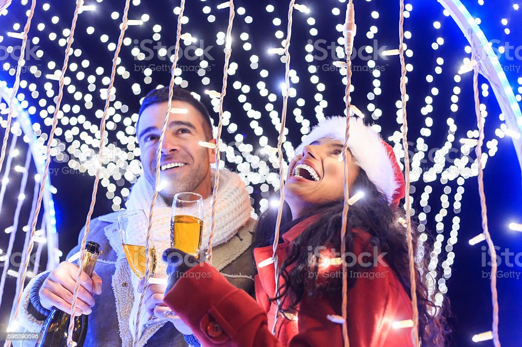 Celebration with champagne on street stock photo