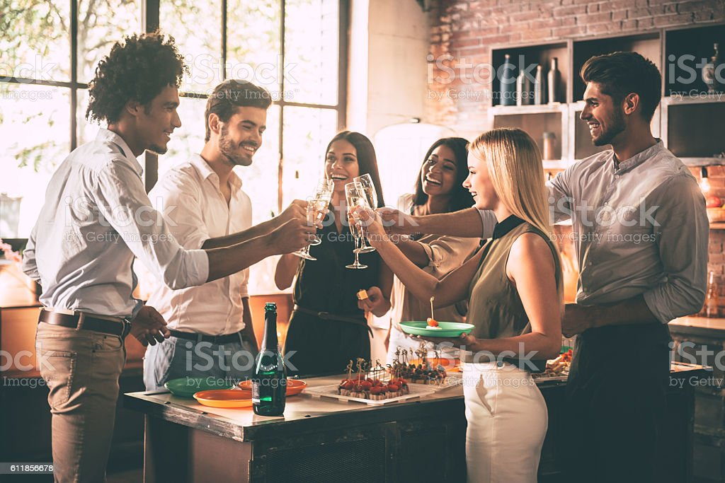 Celebration with nearest friends. stock photo
