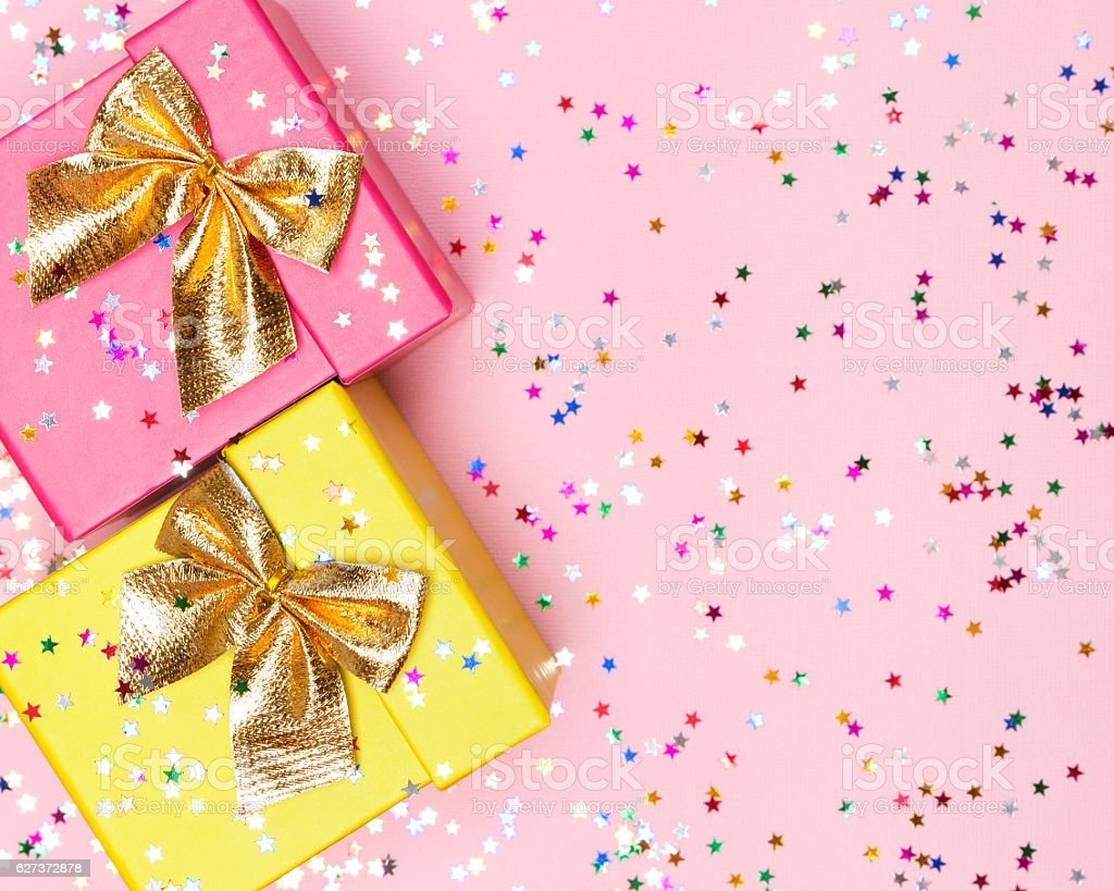 Celebratory background with color gift boxes and confetti stock photo