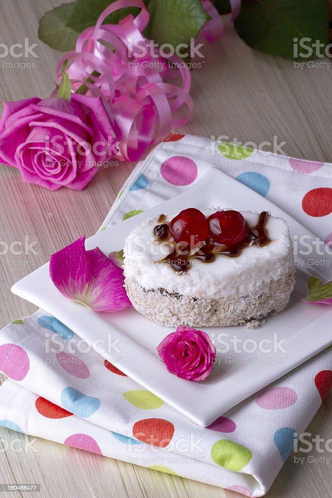 Celebratory cake with cherries royalty-free stock photo