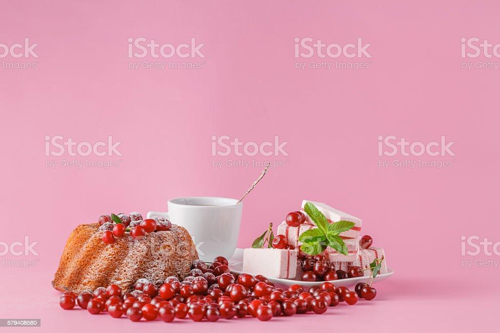 celebratory cake with cherries stock photo