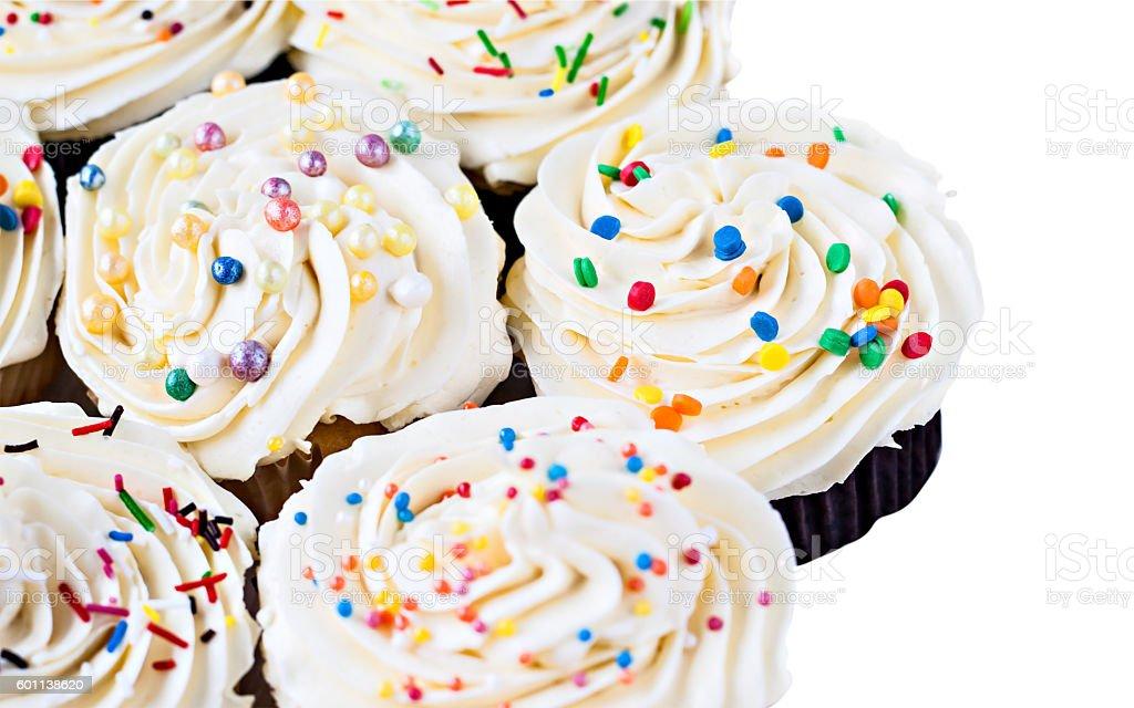 celebratory cupcakes on a white background stock photo