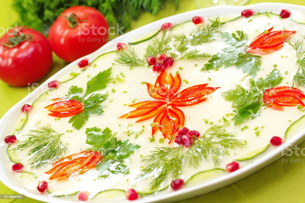 Celebratory food: jellied meat with vegetables stock photo