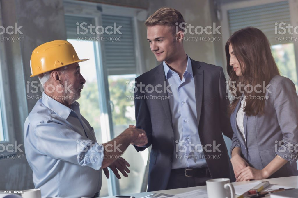 Celebratory Handshake stock photo