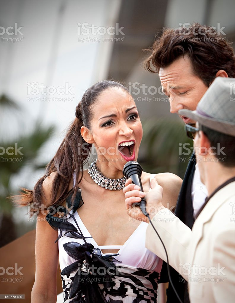 Celebrity Journalist Shocking Question Cannes stock photo