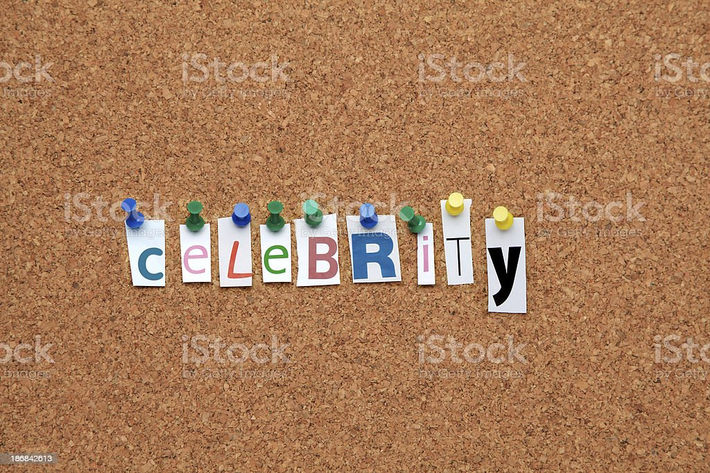 Celebrity pinned on noticeboard royalty-free stock photo