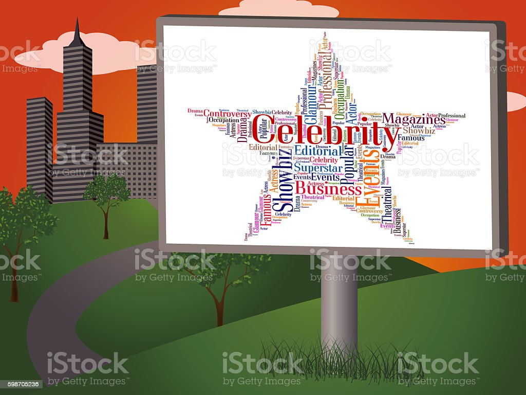 Celebrity Star Means Text Word And Fame stock photo