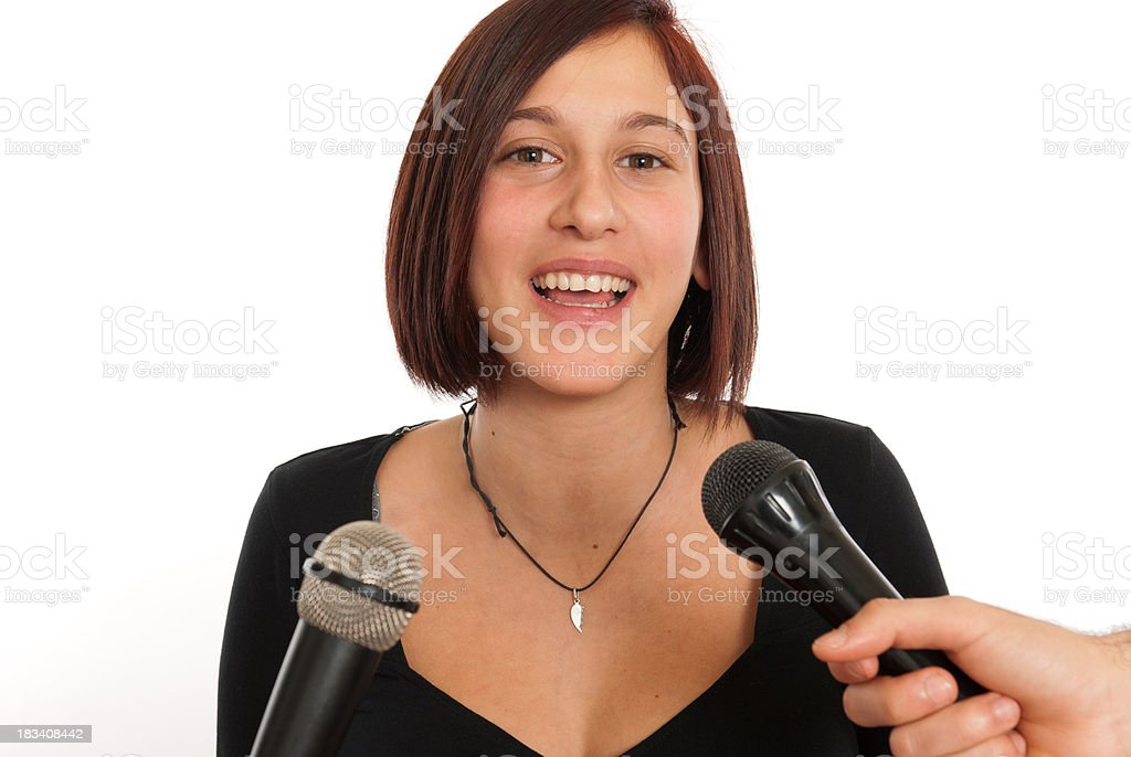 celebrity woman during an interview royalty-free stock photo