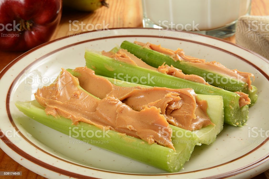 Celery and peanut butter stock photo