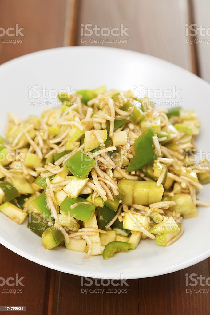 Celery salad with peppers royalty-free stock photo