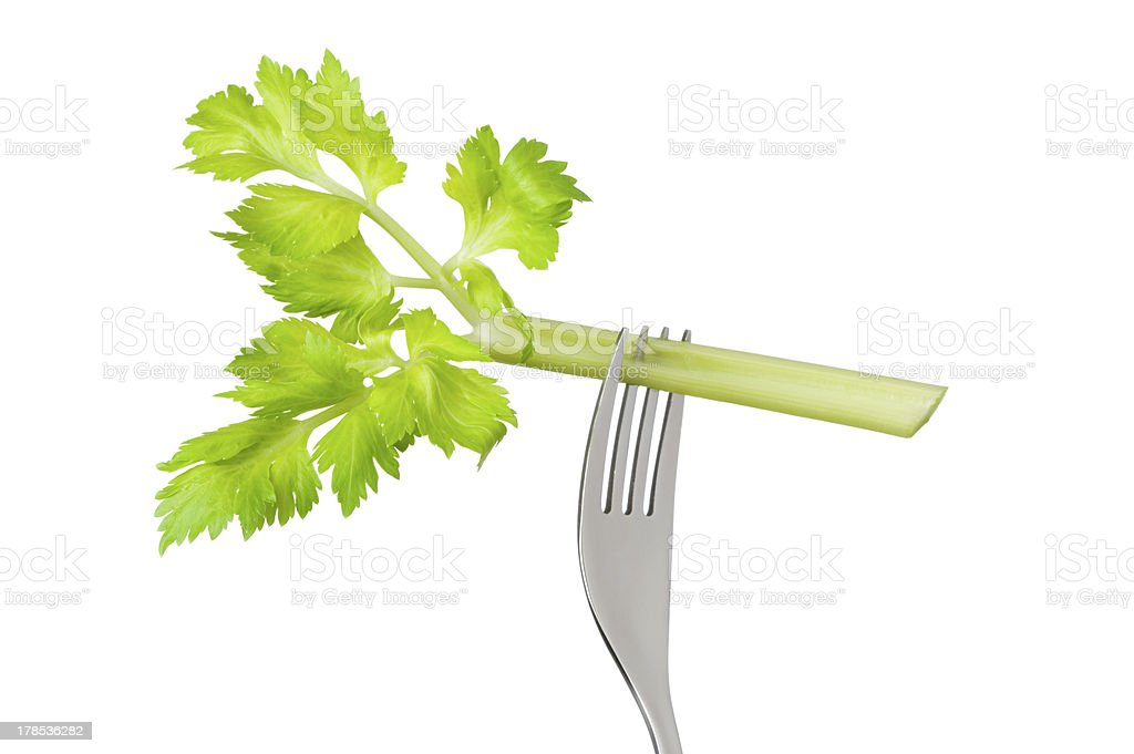celery stalk on fork isolated royalty-free stock photo