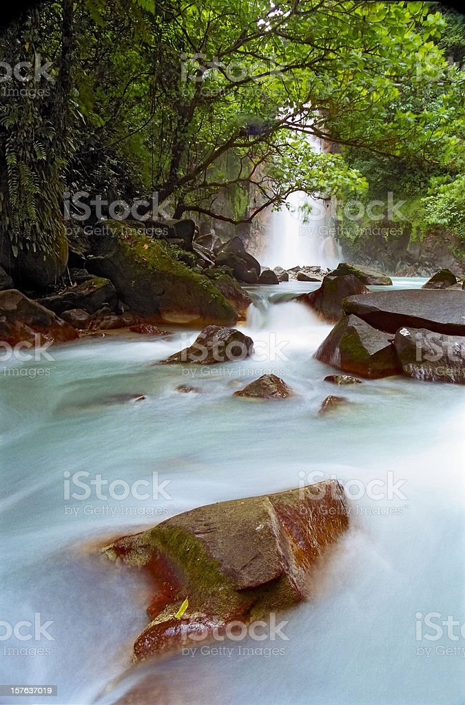 Celeste Falls, Costa Rica royalty-free stock photo