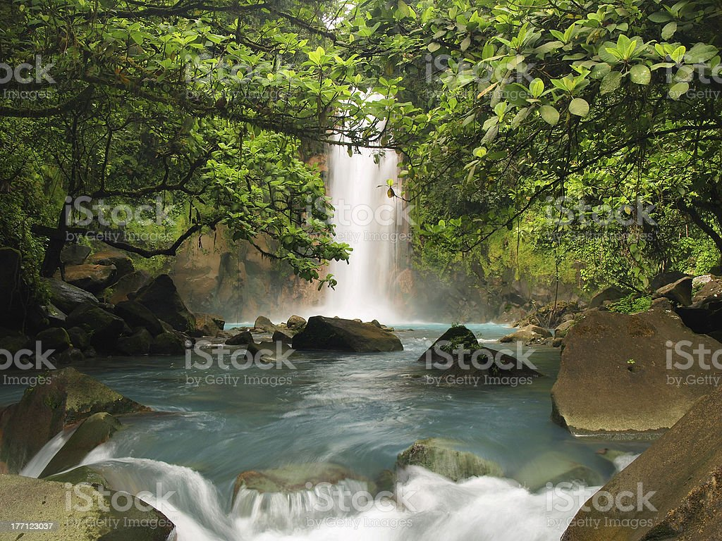 Celestial blue waterfall stock photo
