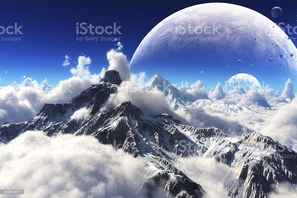 Celestial view of snow capped mountains and an alien planet. stock photo