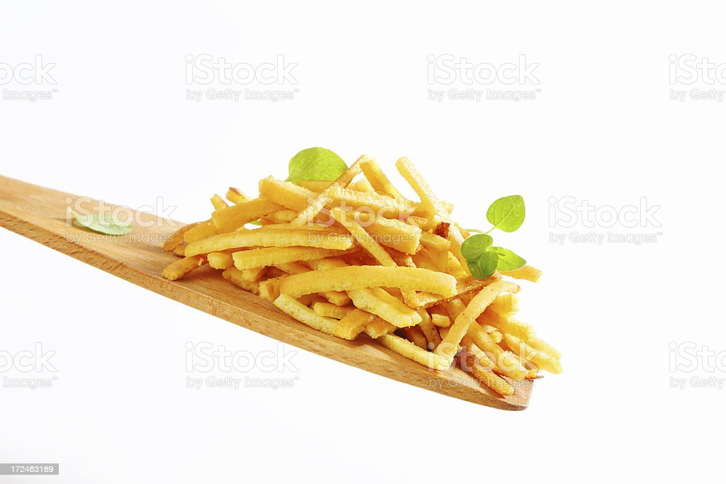 Celestine noodles on a wooden spatula royalty-free stock photo