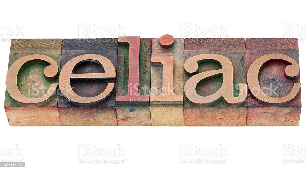 celiac word in letterpress type royalty-free stock photo
