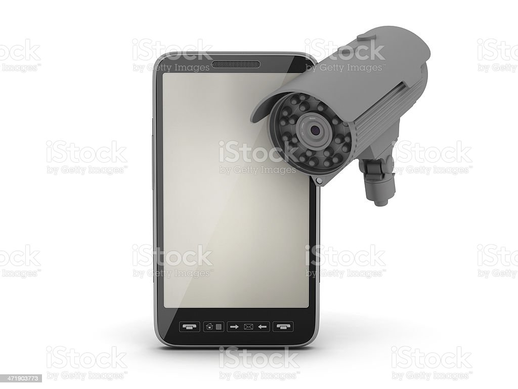 Cell phone and security camera royalty-free stock photo