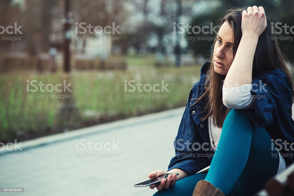 Cell phone break up stock photo