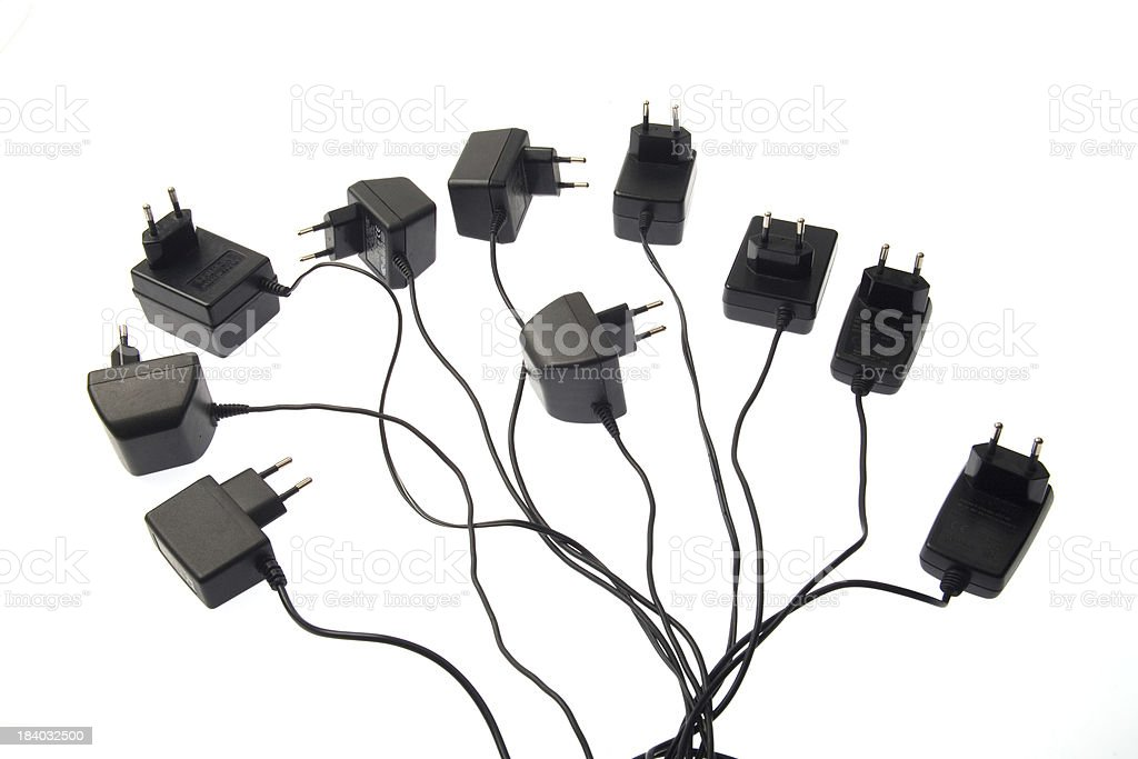 Cell phone chargers royalty-free stock photo