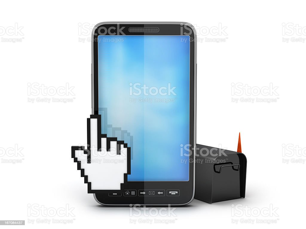 Cell phone, cursor hand and mailbox royalty-free stock photo