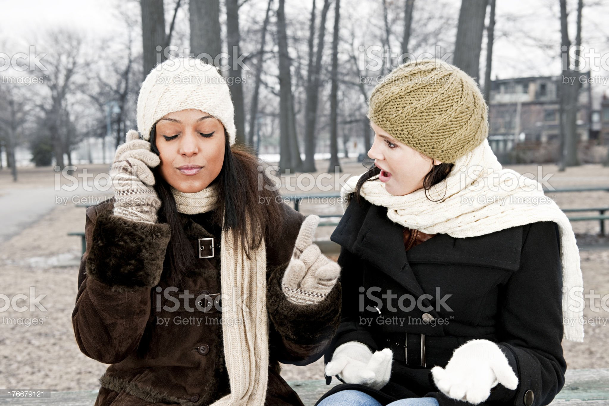 Cell phone etiquette problem royalty-free stock photo