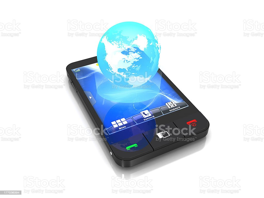 Cell phone hologram of the earth planet royalty-free stock photo