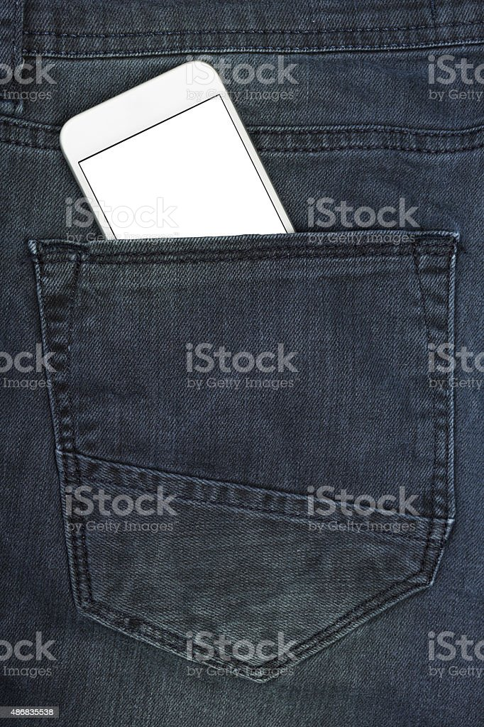 Cell phone in a pocket stock photo