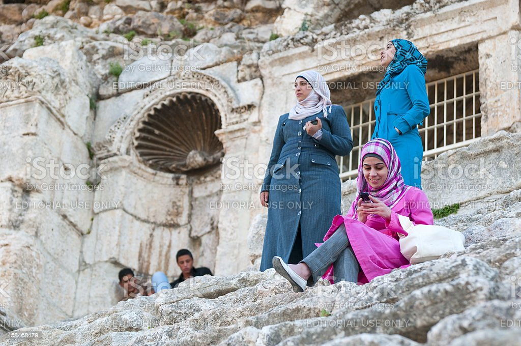 Cell phone in ancient ruins royalty-free stock photo