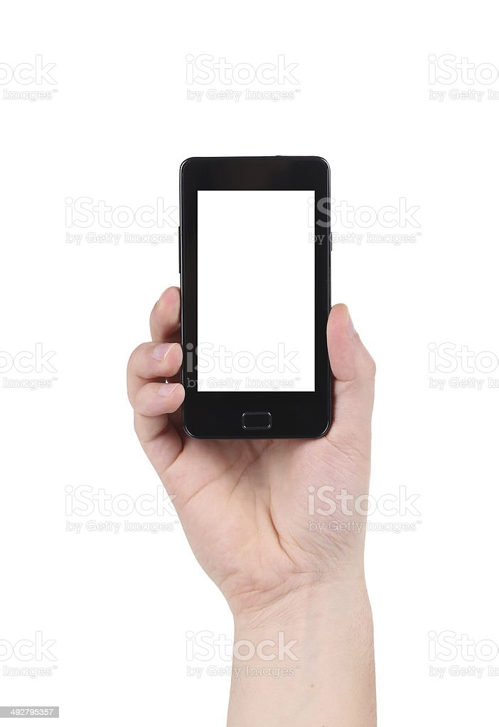 Cell phone in man's hand. stock photo