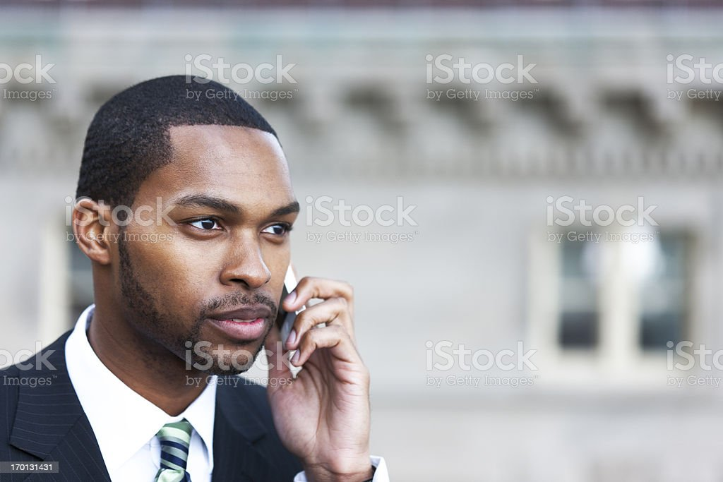 Cell phone outdoors, New York City royalty-free stock photo