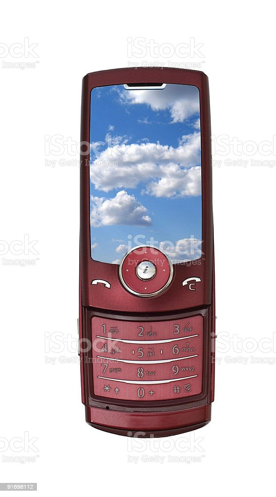 cell phone over white royalty-free stock photo