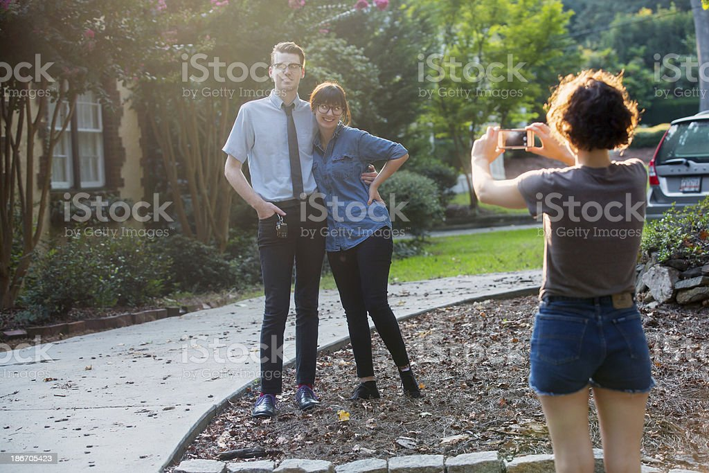 Cell Phone Photo of Happy Hipster Couple royalty-free stock photo